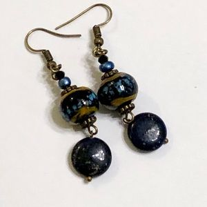 Black & Blue Beaded Lapis Lazuli Earrings